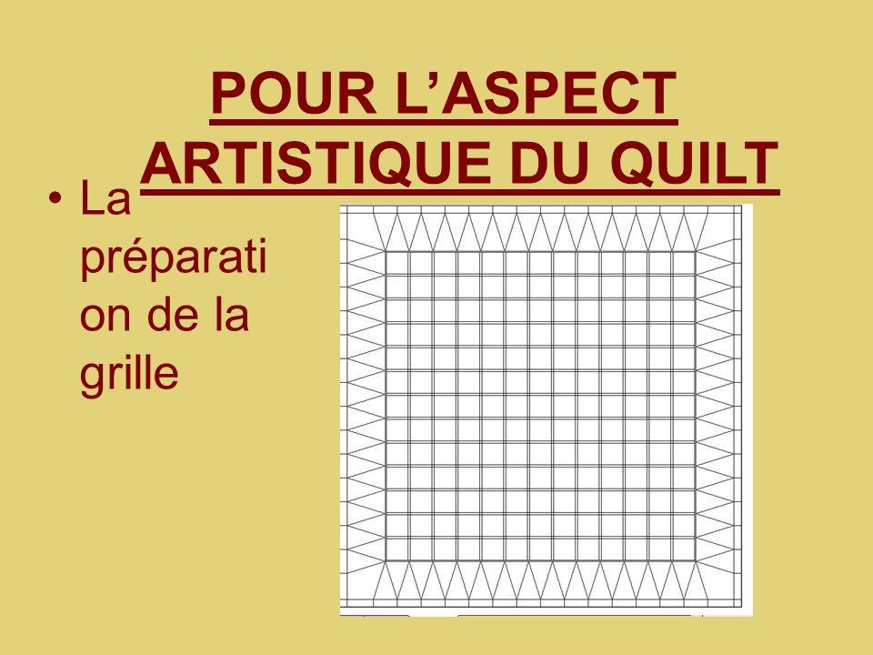 POUR L'ASPECT ARTISTIQUE DU QUILT