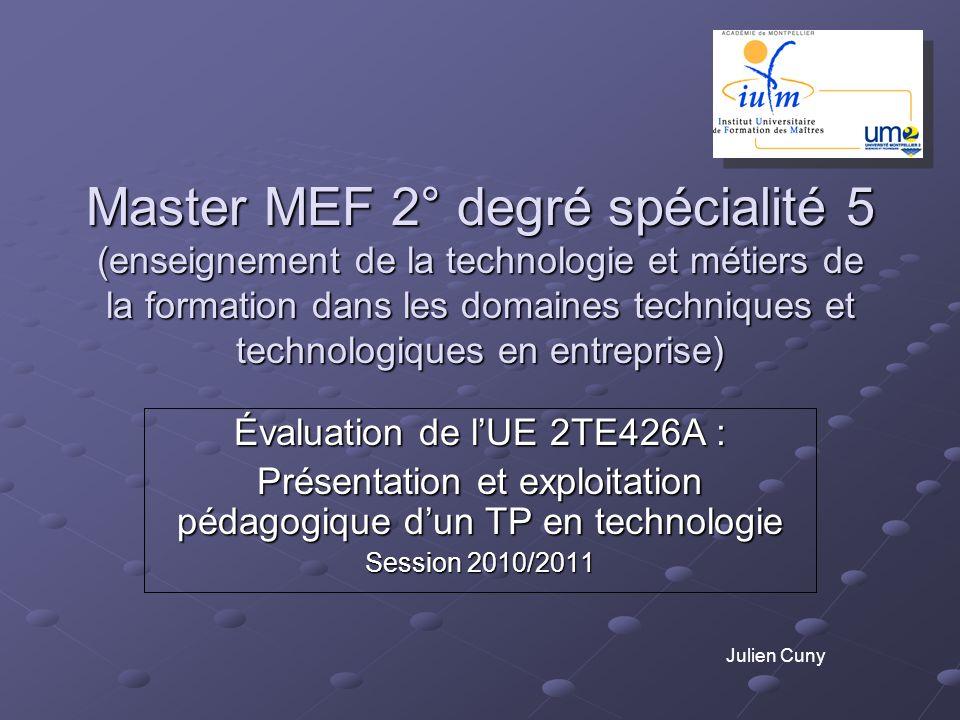 Master MEF 2° degré spécialité 5 (enseignement de la technologie et métiers de la formation dans les domaines techniques et technologiques en entreprise)