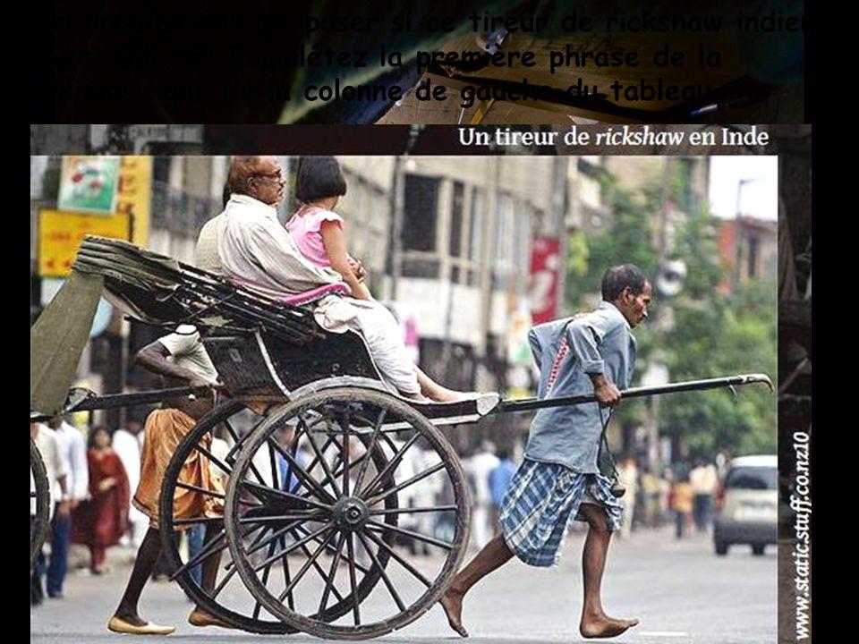 Quel problème va se poser si ce tireur de rickshaw indien tombe malade