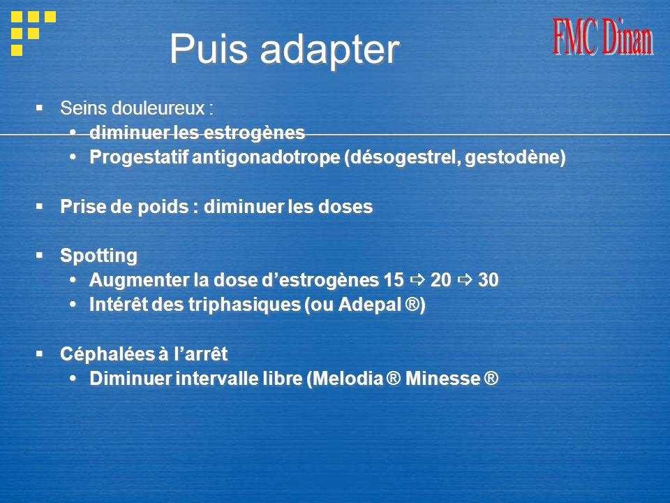 Puis adapter FMC Dinan Seins douleureux : diminuer les estrogènes