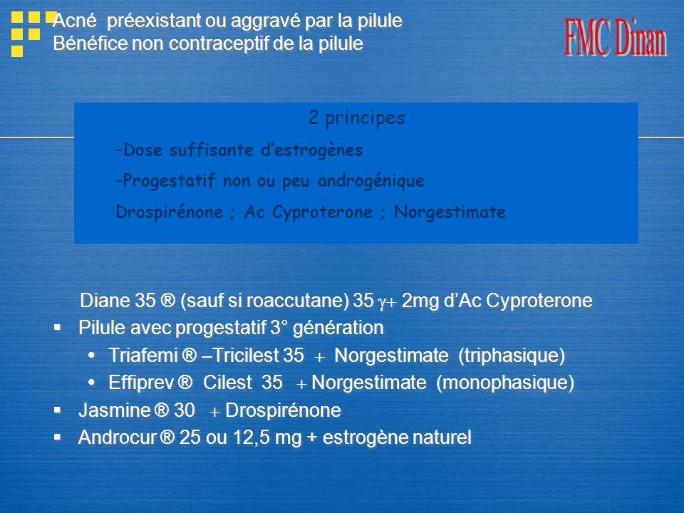 Diane 35 ® (sauf si roaccutane) 35 g+ 2mg d'Ac Cyproterone