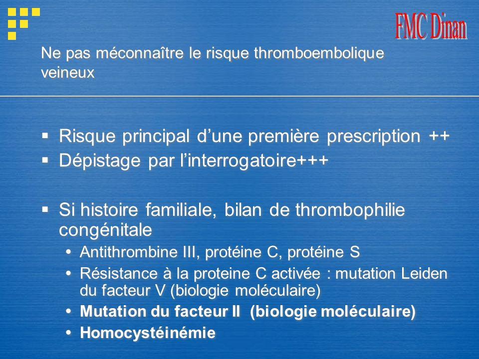 Ne pas méconnaître le risque thromboembolique veineux