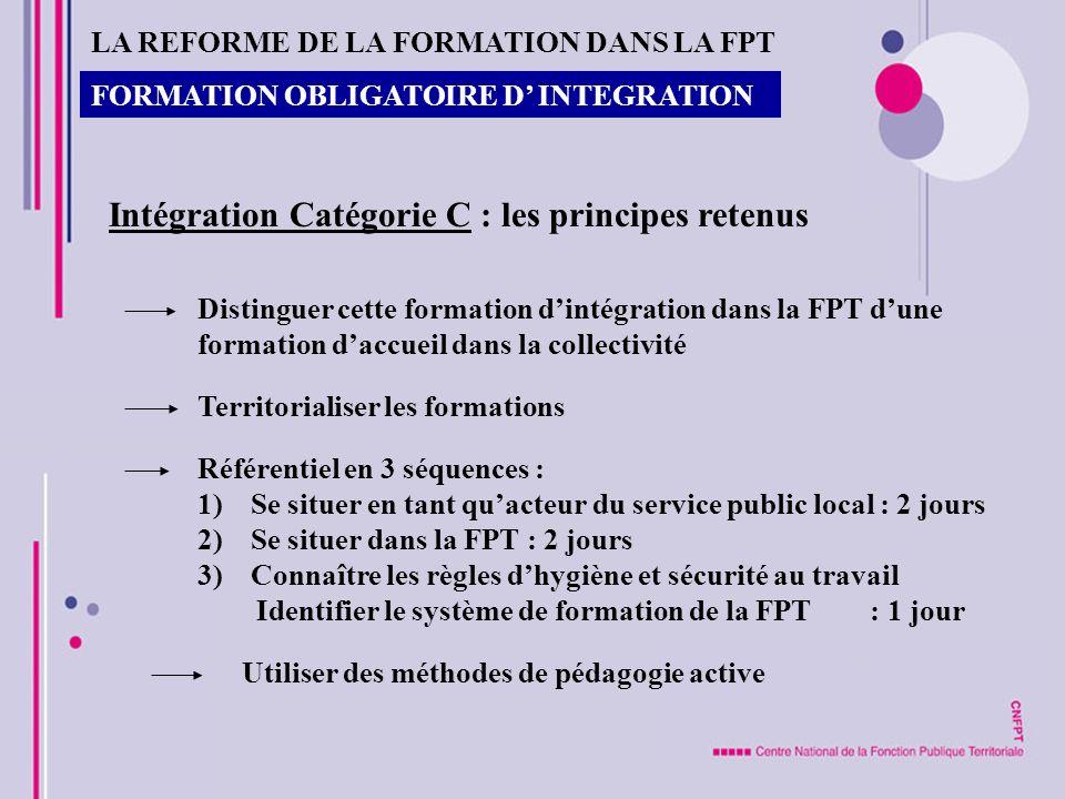 Intégration Catégorie C : les principes retenus