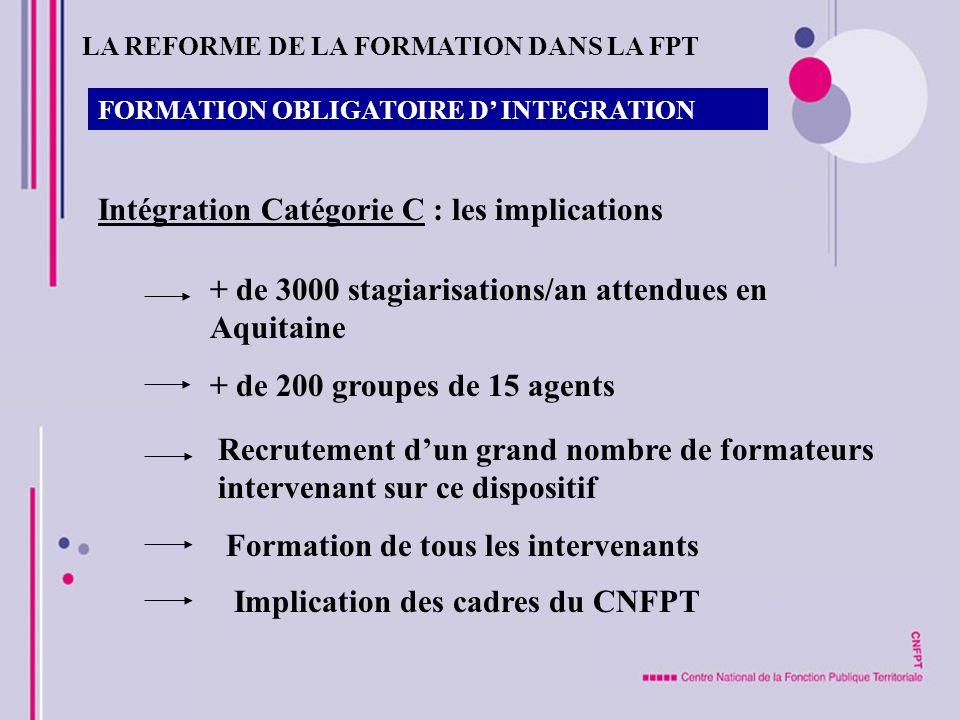 Intégration Catégorie C : les implications