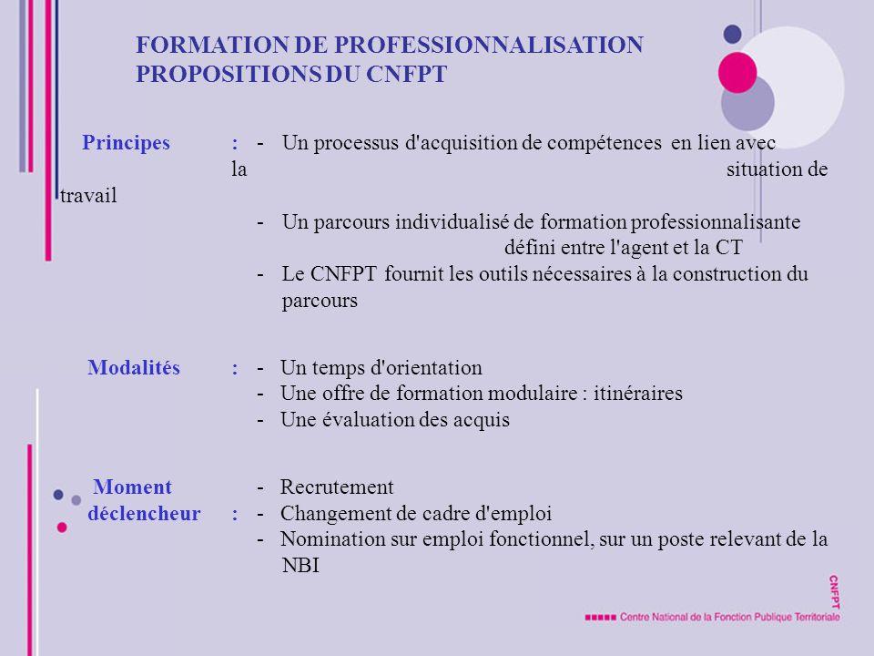 FORMATION DE PROFESSIONNALISATION PROPOSITIONS DU CNFPT