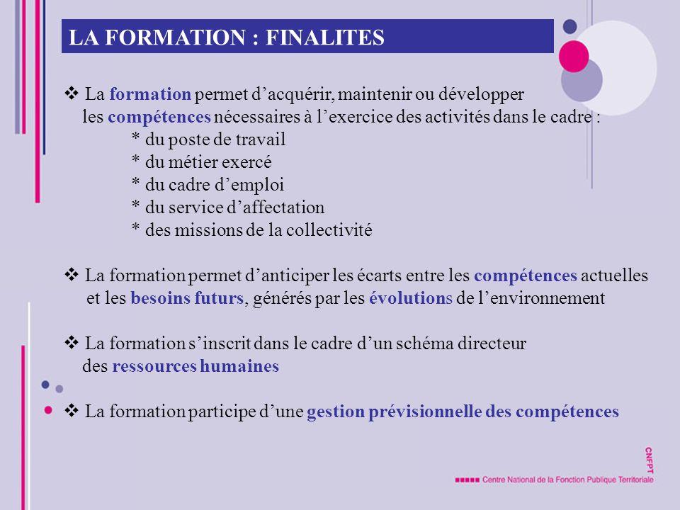 LA FORMATION : FINALITES