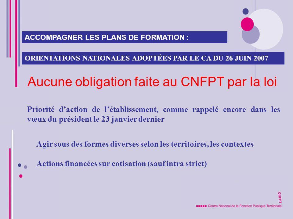 Aucune obligation faite au CNFPT par la loi