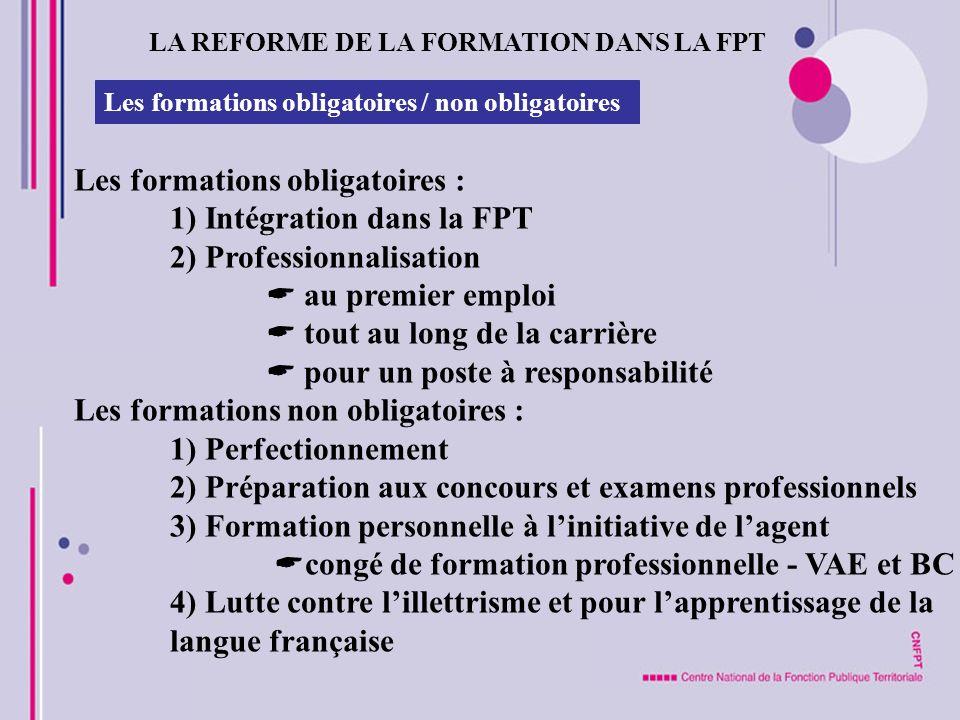 Les formations obligatoires : 1) Intégration dans la FPT