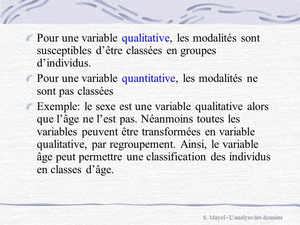Pour une variable quantitative, les modalités ne sont pas classées