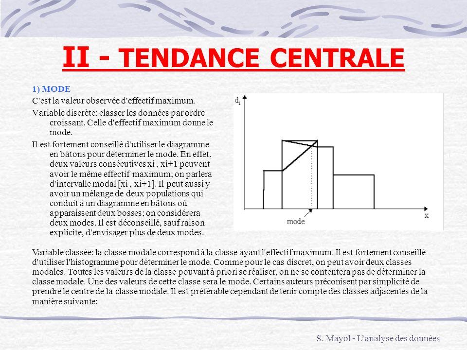 II - TENDANCE CENTRALE 1) MODE