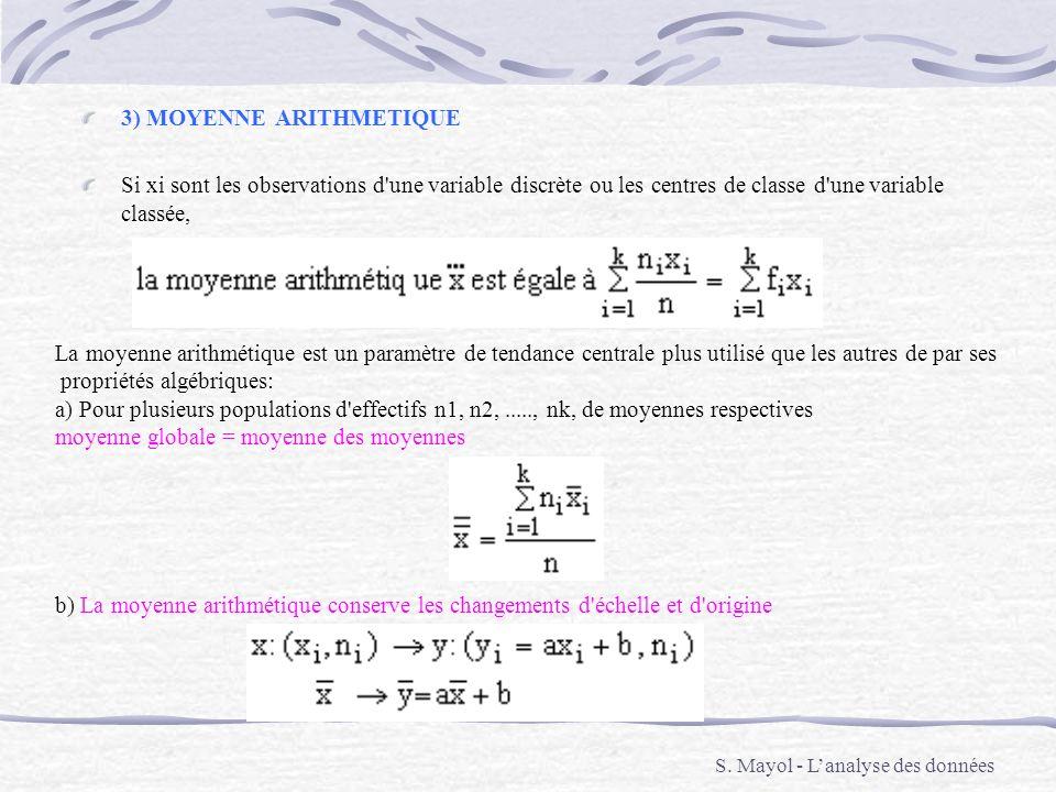 3) MOYENNE ARITHMETIQUE