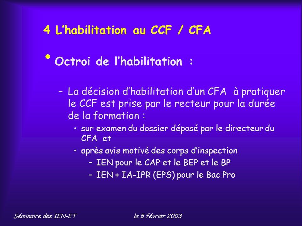 4 L'habilitation au CCF / CFA