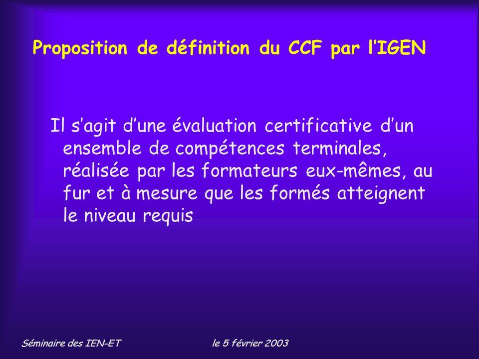 Proposition de définition du CCF par l'IGEN