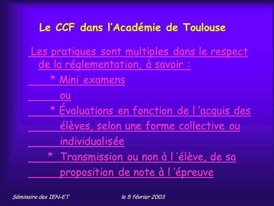 Le CCF dans l'Académie de Toulouse