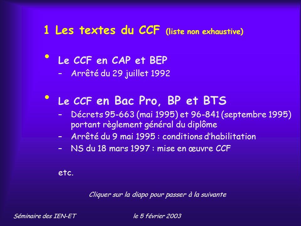 1 Les textes du CCF (liste non exhaustive)