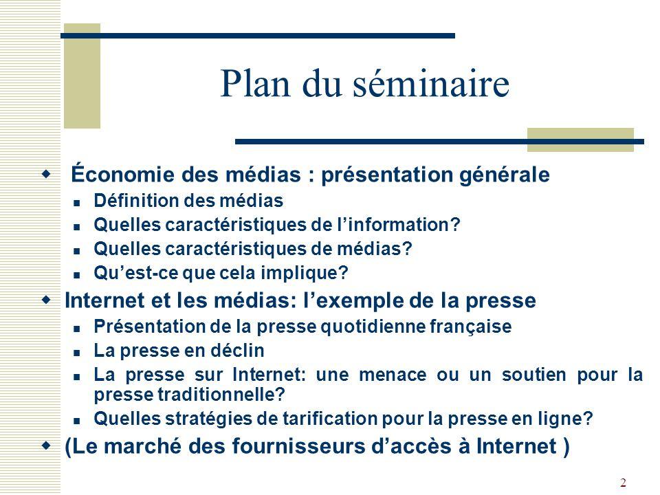 Plan du séminaire Économie des médias : présentation générale