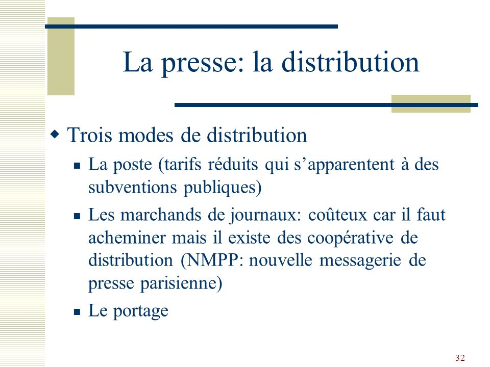La presse: la distribution