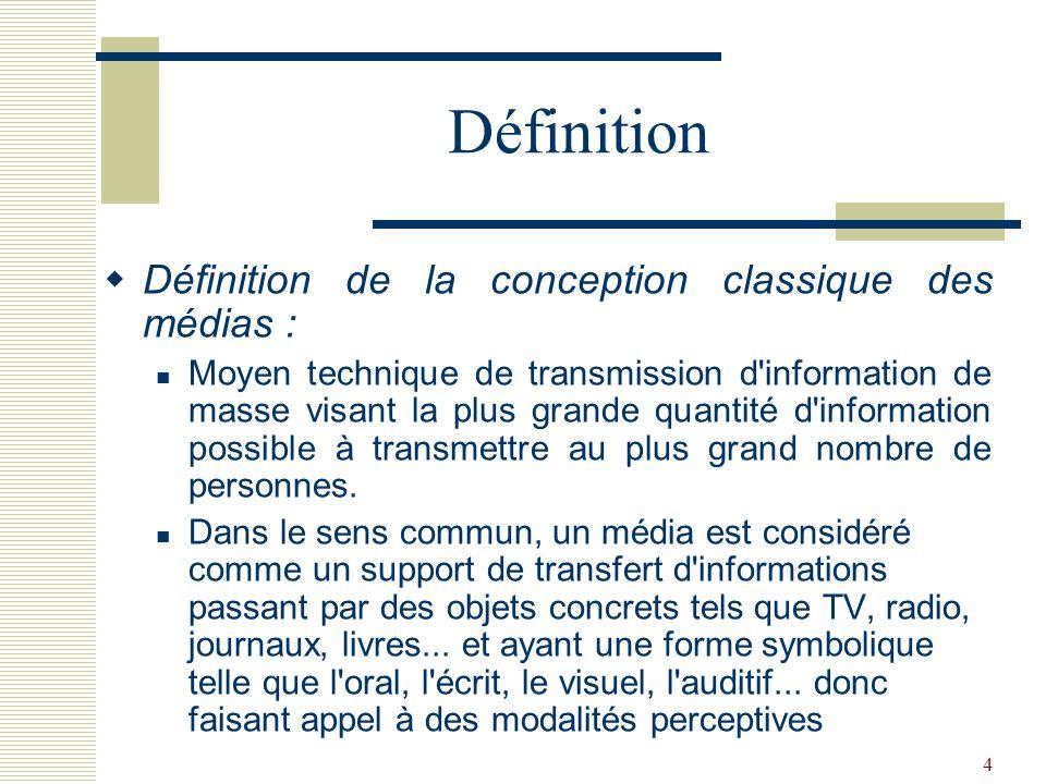 Définition Définition de la conception classique des médias :