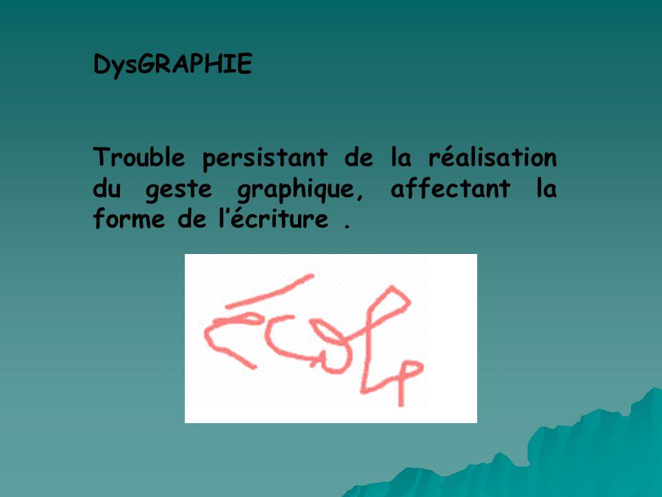 DysGRAPHIE Trouble persistant de la réalisation du geste graphique, affectant la forme de l'écriture .