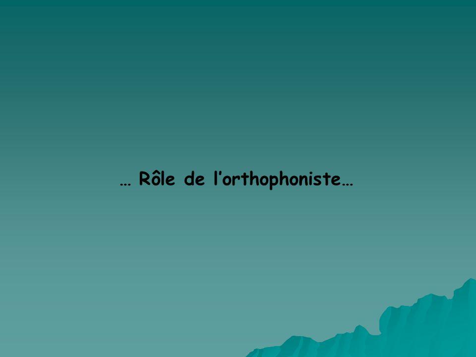 … Rôle de l'orthophoniste…
