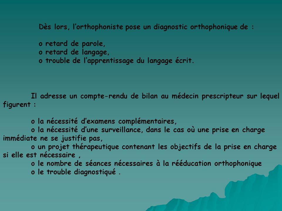 Dès lors, l'orthophoniste pose un diagnostic orthophonique de :