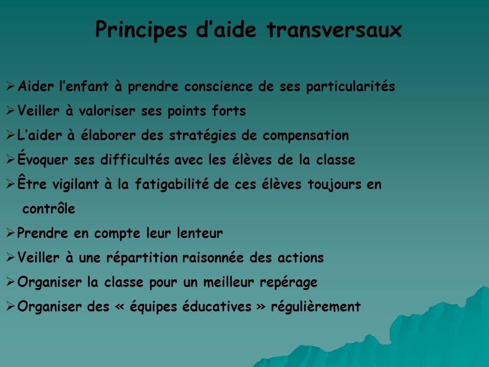 Principes d'aide transversaux