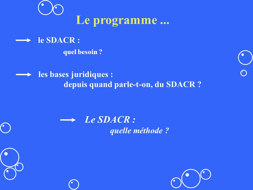 Le programme ... quel besoin Le SDACR : le SDACR :