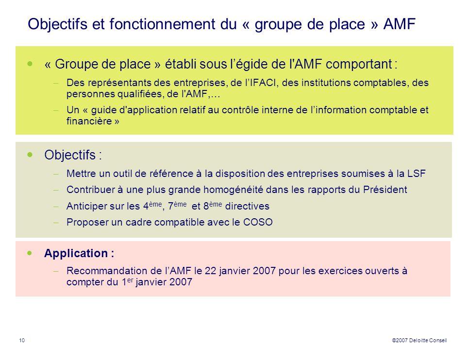 Objectifs et fonctionnement du « groupe de place » AMF