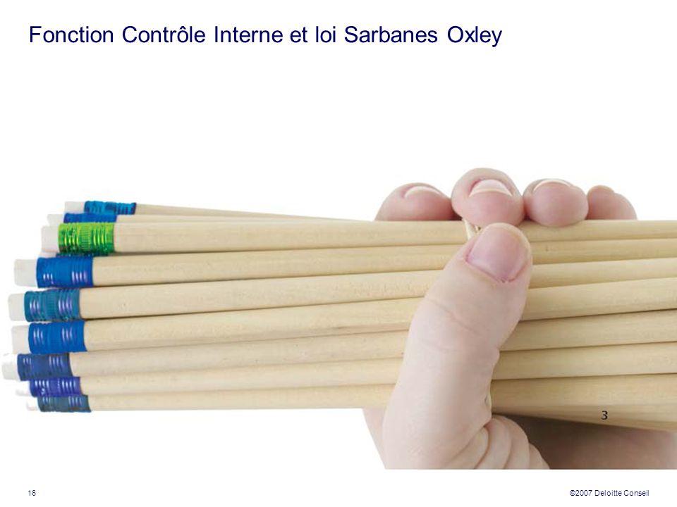 Fonction Contrôle Interne et loi Sarbanes Oxley
