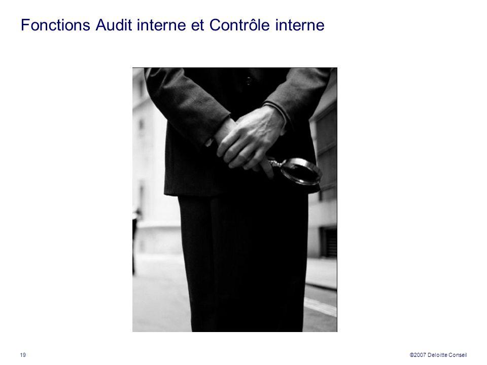 Fonctions Audit interne et Contrôle interne