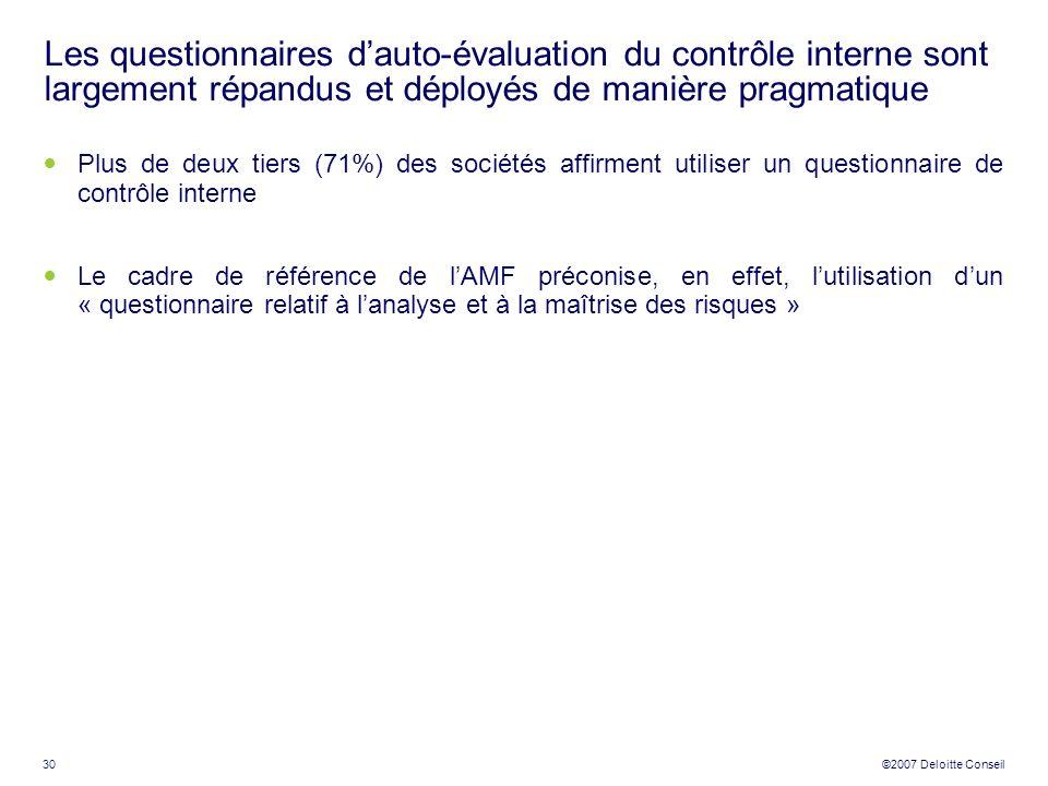 Les questionnaires d'auto-évaluation du contrôle interne sont largement répandus et déployés de manière pragmatique