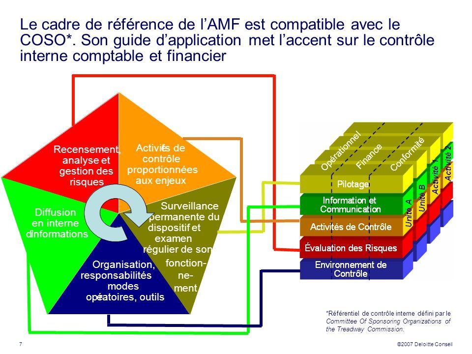 Le cadre de référence de l'AMF est compatible avec le COSO