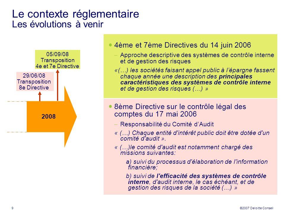Le contexte réglementaire Les évolutions à venir