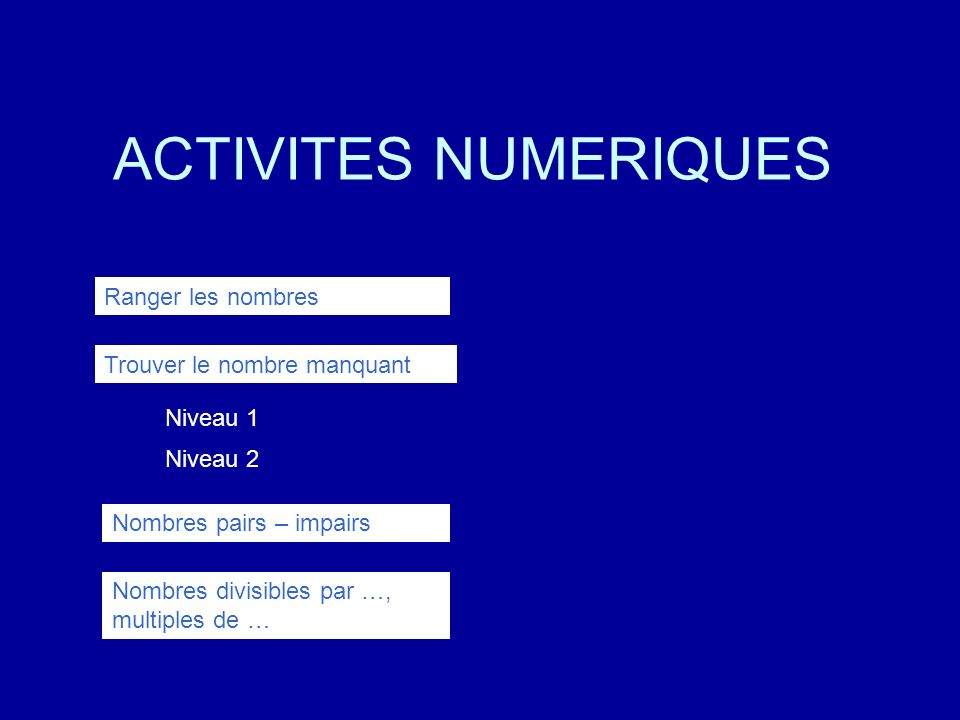 ACTIVITES NUMERIQUES Ranger les nombres Trouver le nombre manquant