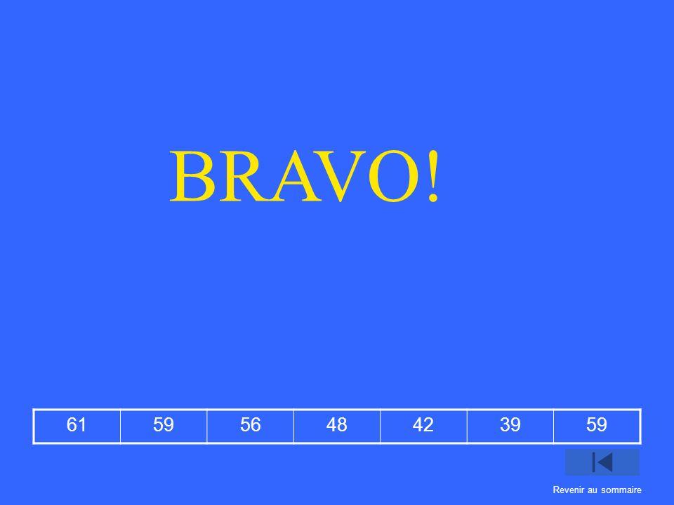 BRAVO! 61 59 56 48 42 39 Revenir au sommaire
