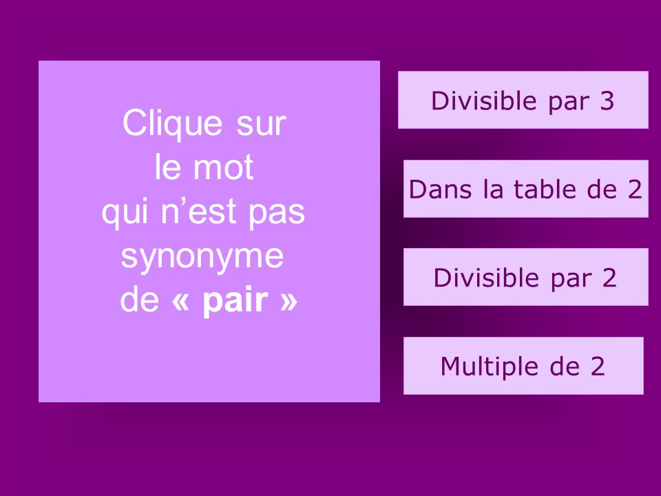 14. cigogne Clique sur le mot qui n'est pas synonyme de « pair »