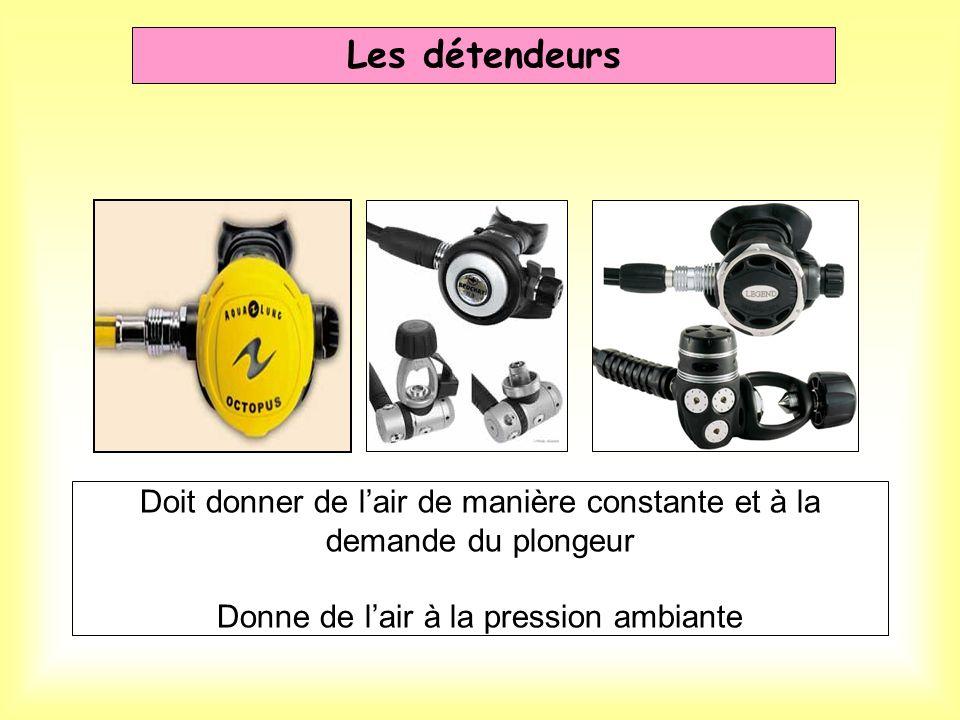 Les détendeurs Doit donner de l'air de manière constante et à la demande du plongeur Donne de l'air à la pression ambiante.