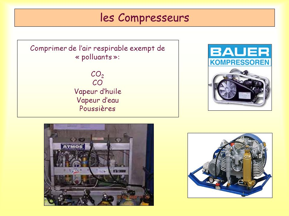 les Compresseurs Comprimer de l'air respirable exempt de « polluants »: CO2 CO Vapeur d'huile Vapeur d'eau Poussières.