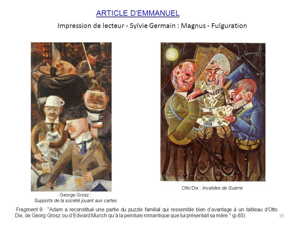Impression de lecteur - Sylvie Germain : Magnus - Fulguration
