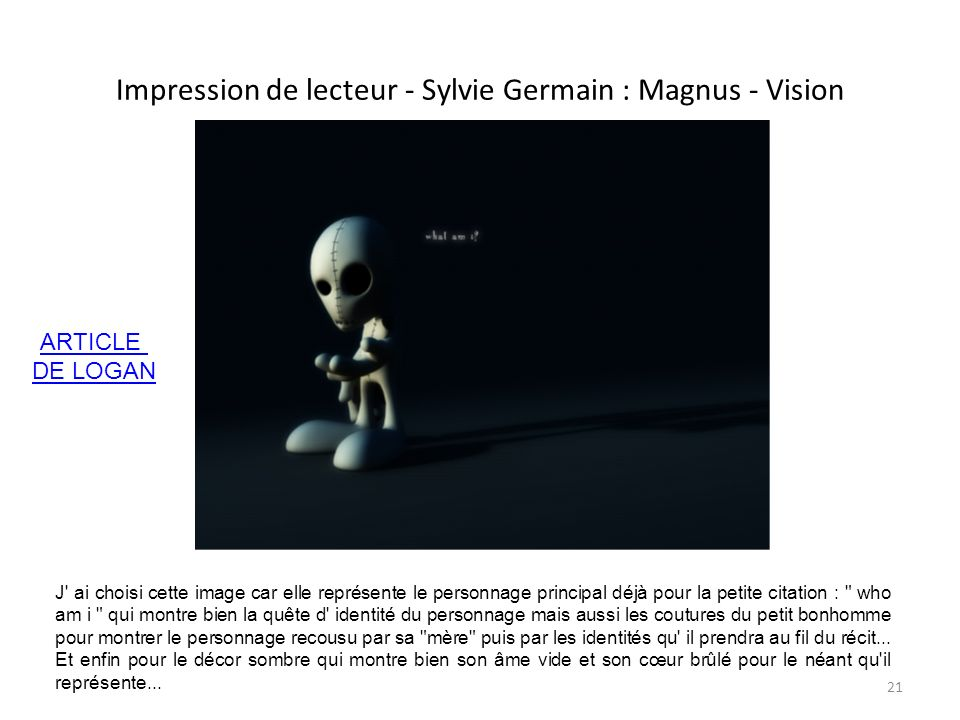 Impression de lecteur - Sylvie Germain : Magnus - Vision