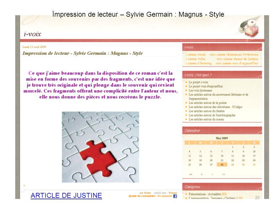 Ïmpression de lecteur – Sylvie Germain : Magnus - Style