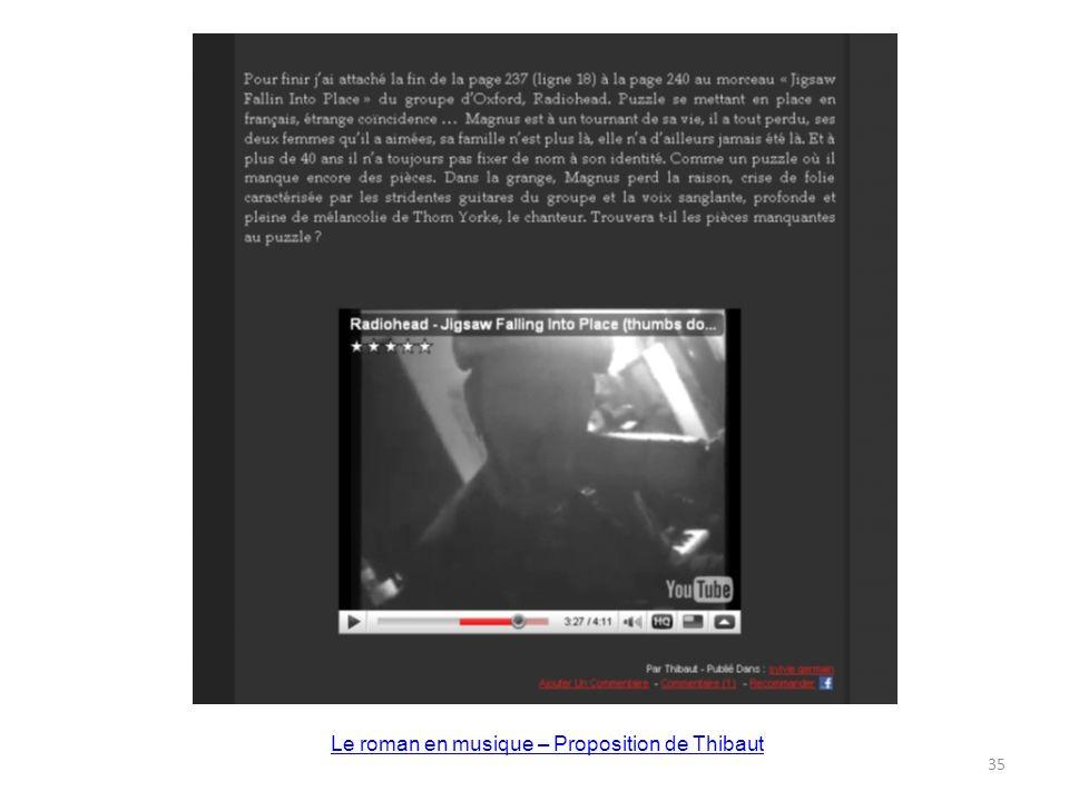 Le roman en musique – Proposition de Thibaut