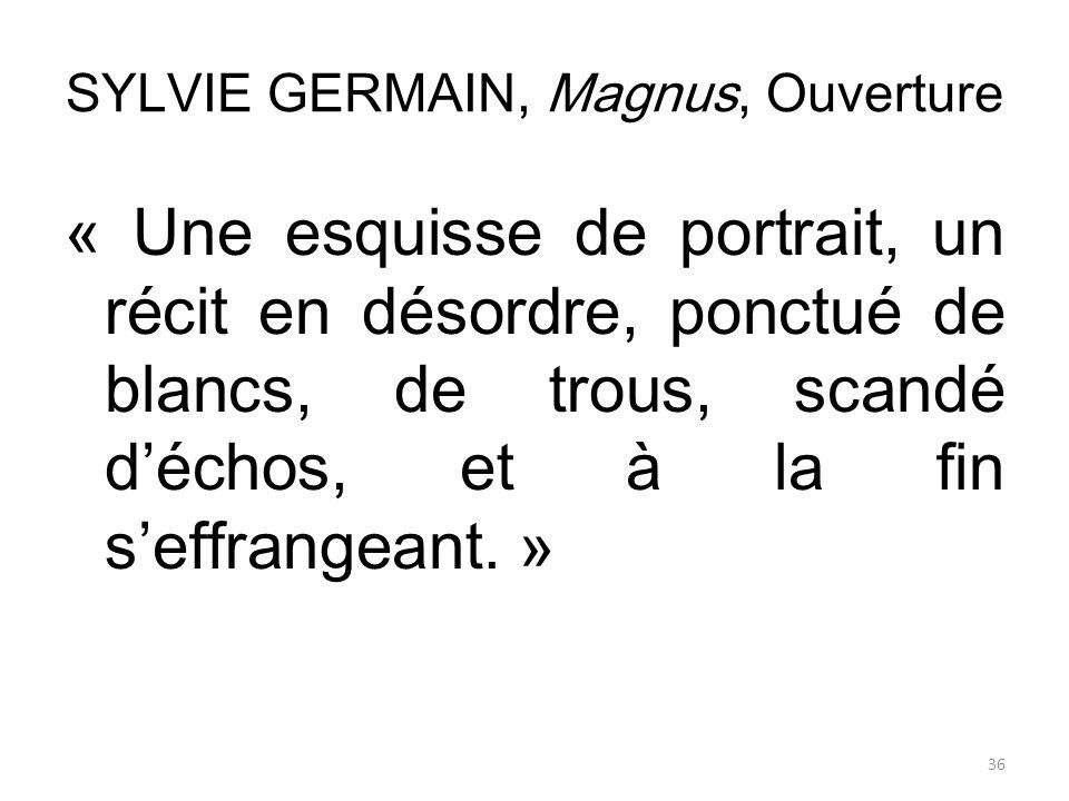 SYLVIE GERMAIN, Magnus, Ouverture