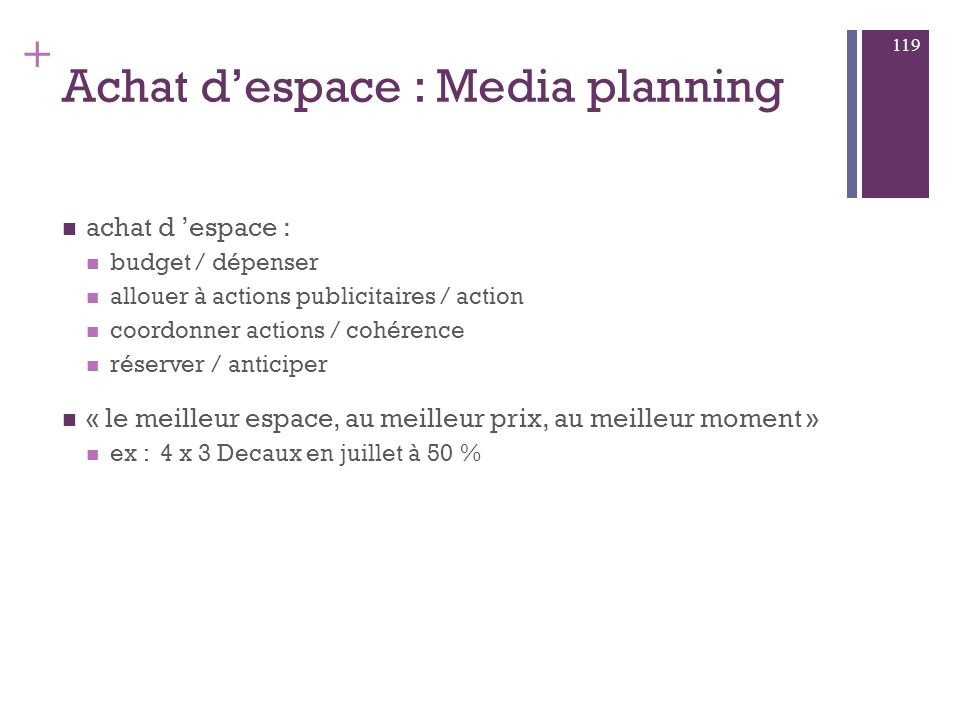 Achat d'espace : Media planning