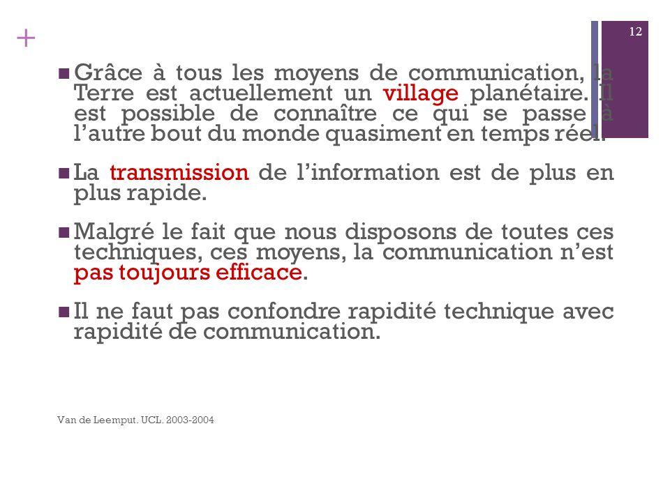 La transmission de l'information est de plus en plus rapide.
