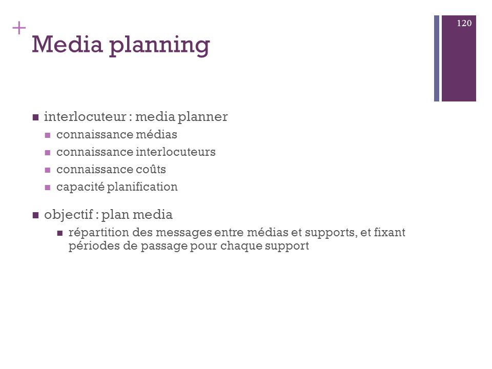 Media planning interlocuteur : media planner objectif : plan media