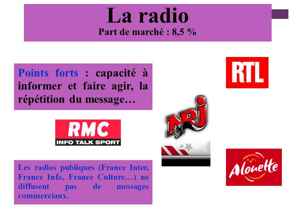 La radio Part de marché : 8,5 % Points forts : capacité à informer et faire agir, la répétition du message…