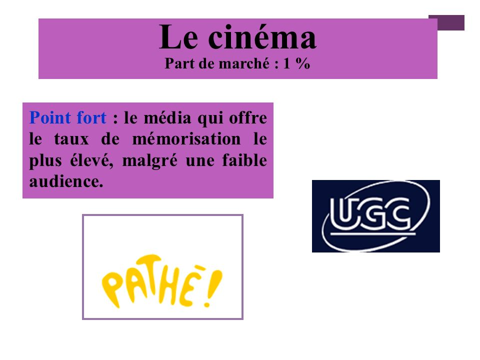 Le cinémaPart de marché : 1 % Point fort : le média qui offre le taux de mémorisation le plus élevé, malgré une faible audience.