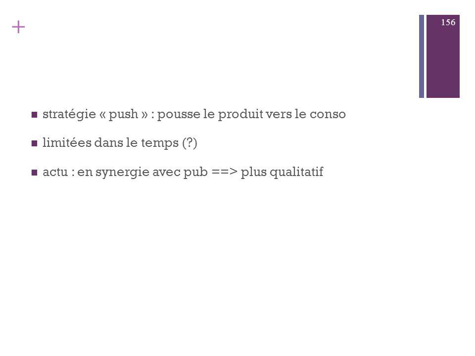 stratégie « push » : pousse le produit vers le conso