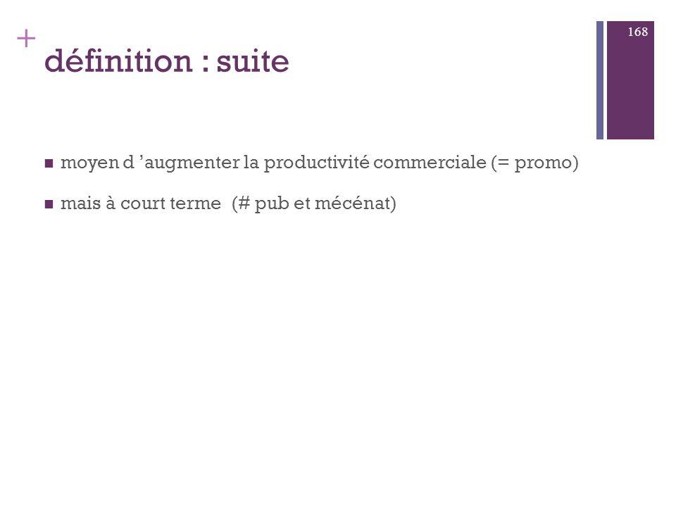 définition : suite moyen d 'augmenter la productivité commerciale (= promo) mais à court terme (# pub et mécénat)